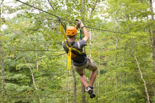Man on Wildwater zipline in the Nantahala Gorge near Bryson City NC