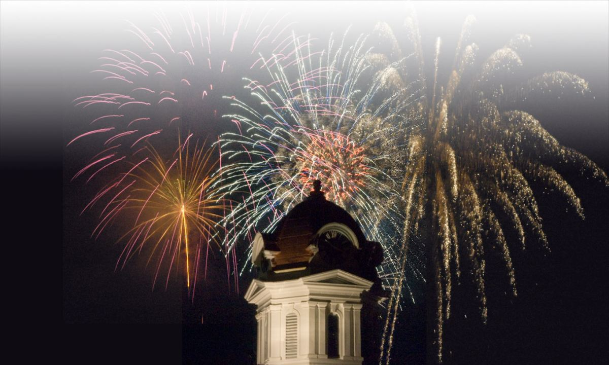 Fireworks over courthouse dome