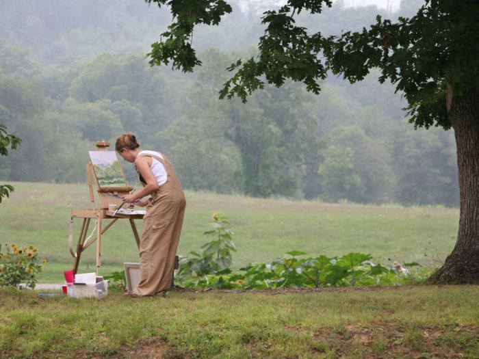 artist paint outdoor scene