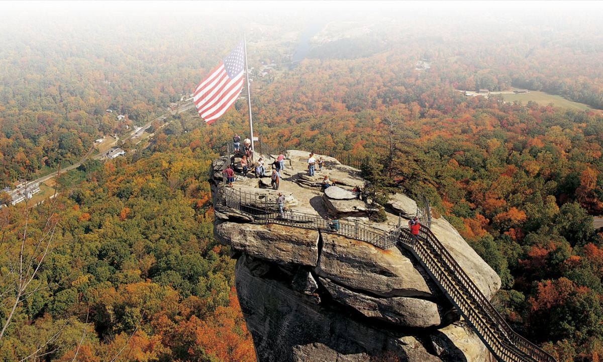 aerial view of Chimney Rock with American flag
