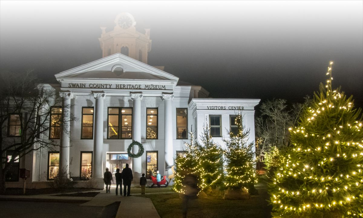 Heritage Museum in old courthouse with lighted Christmas trees