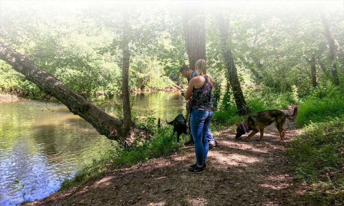 Couple with dogs on trail at river's edge