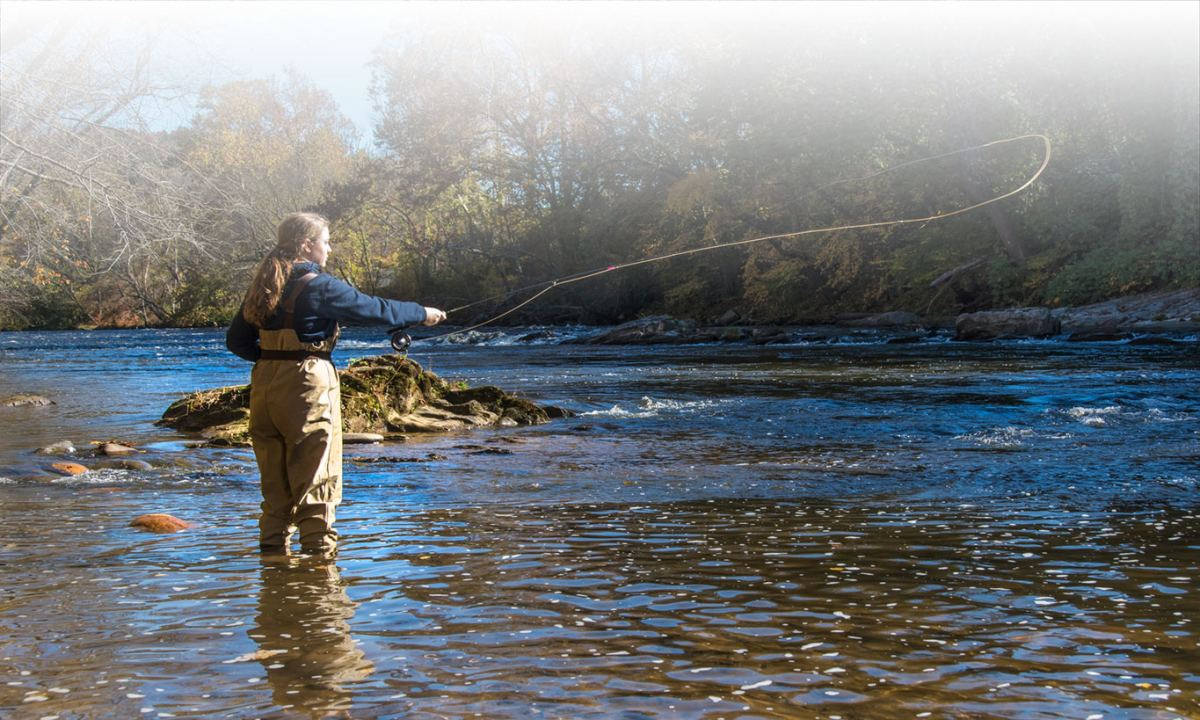 Woman casting for trout in river