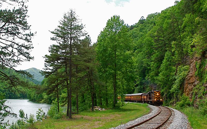 Rail excursion by Fontana Lake