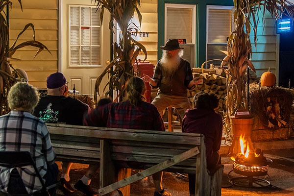 storyteller at campfire